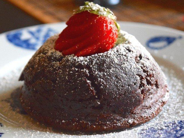 Swim in a warm pool of oozing chocolate with this decadent lava cake